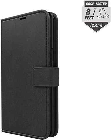 Skech Drop Tested Protective Polo Book Vegan Leather Wallet Cover with Detachable Case and Stand for Samsung Galaxy Note 10 (Wireless Charging Compatible) - Black