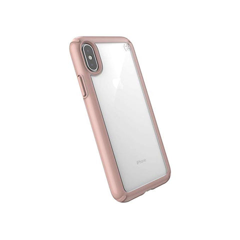Speck iPhone XS Presidio Show Case, Show Off Your Phone and Stay Protected with IMPACTIUM 10-Feet Drop Protection, Clear/Rose Gold