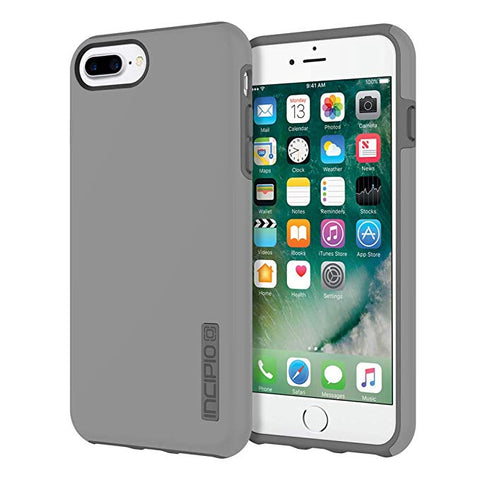iPhone 8 Plus Case, iPhone 7 Plus Case, Incipio Premium DualPro Shockproof Hard Shell Hybrid Rugged Dual Layer Protective Outer Shell Shock and Impact Absorption Cover (5.5 Inch)- Gray/Charcoal