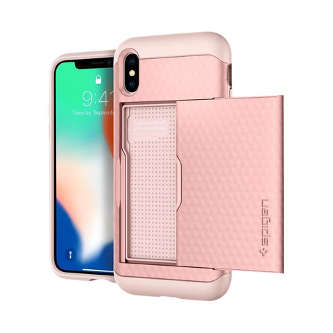 Spigen - Crystal Wallet Case for Apple iPhone X - Rose Gold
