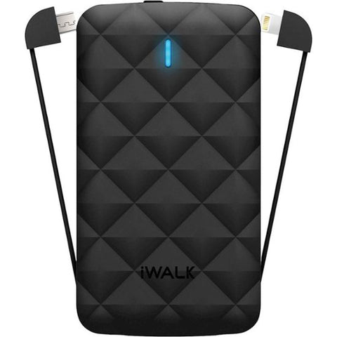 iWalk - Duo 3,000 mAh Portable Charger for Most Micro-USB And Lightning-Equipped Devices - Black