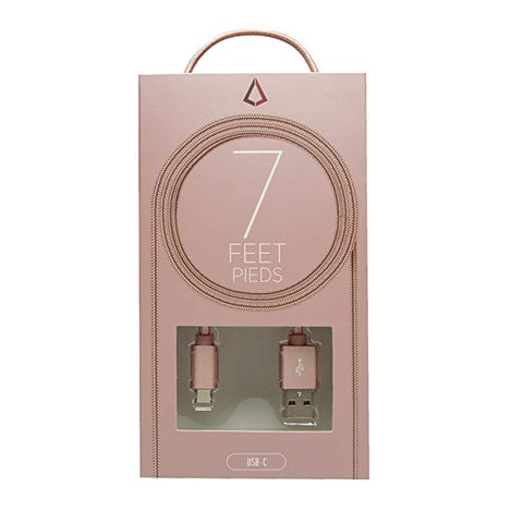 LBT 7 FT USB C Nylon Braided Charging Cable with Metal Connector (Rose Gold)