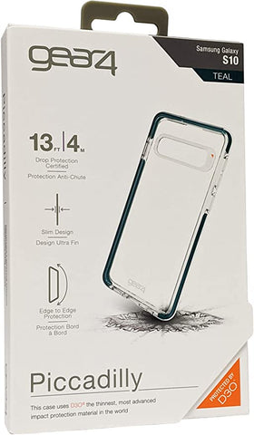 GEAR4 Piccadilly Clear Case with Advanced Impact Protection by D3O, Compatible with Samsung Galaxy S10 – Teal