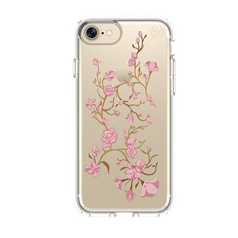 Speck Presidio Clear with Print Cell Phone Case for iPhone 7 - Golden blossom Pink/Clear