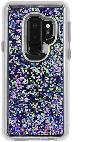Case-Mate - Samsung Galaxy S9+ Case - GLOW WATERFALL - Glow in The Dark - Cascading Liquid Glitter - Protective Design - Purple Glow