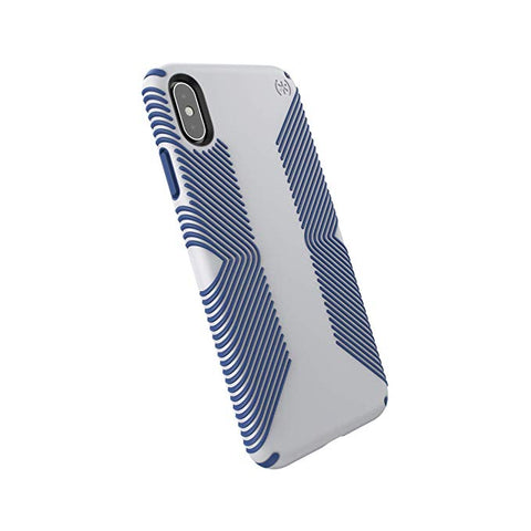 Speck iPhone Xs Max Case, Protective Grip Ultra Thin Slim Hardshell Anti Scratch Presidio Cover Case - Grey/Blue