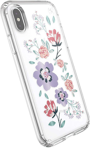 Speck Products Presidio Clear + Print iPhone Xs/iPhone X Case, CanopyFloral Lavender/Clear (117131-7554)