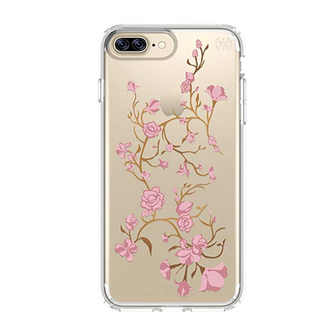 Speck Products Presidio Clear + Print Cell Phone Case for iPhone 7 Plus - Goldenblossom Pink/Clear
