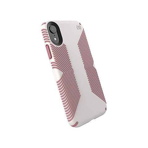 Speck Products Compatible Phone Case for Apple iPhone XR, Presidio Grip Case, Veil White/Lipliner Pink