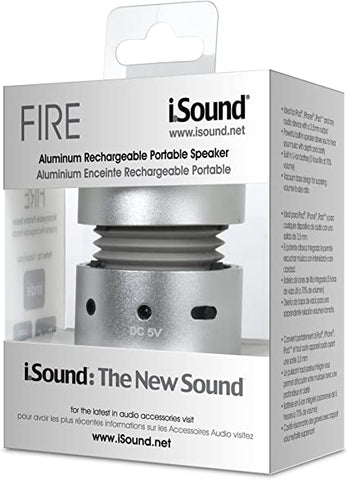 iSound Fire Aluminum Rechargeable 3.5mm Aux Portable Speaker (Silver)