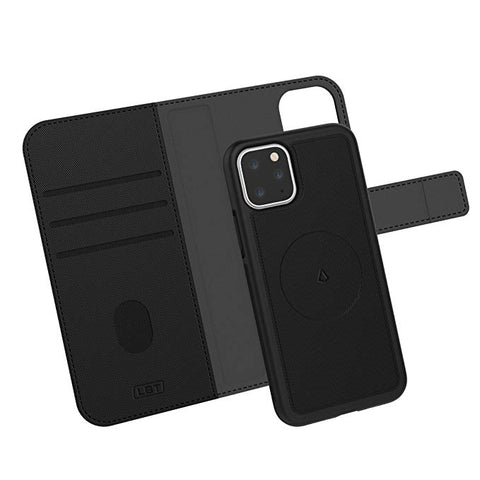 LBT Carbon Black Switch Wallet Case w/Magnet Vent Holder for iPhone 11 | Car Mount + Wallet with 3 Slots for Cards + iPhone 11 Case