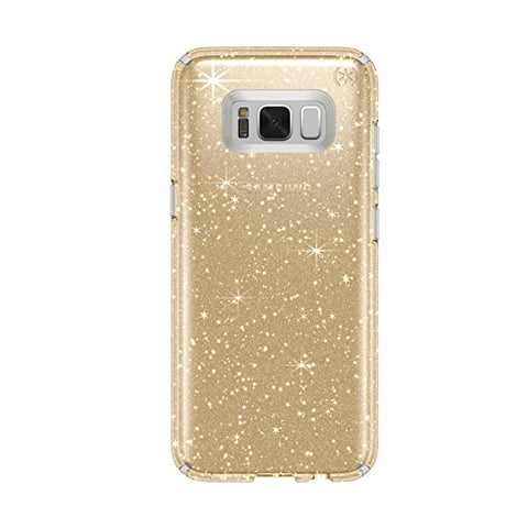 Speck Products Presido Clear + Glitter Cell Phone Case for Samsung Galaxy S8 - Clear With Gold Glitter/Clear