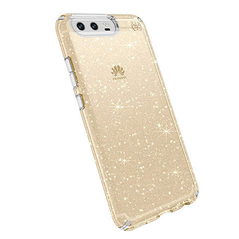 Speck Products Presidio Clear + Glitter Cell Phone Case for Huawei P10 Plus - Clear with Gold Glitter/Clear