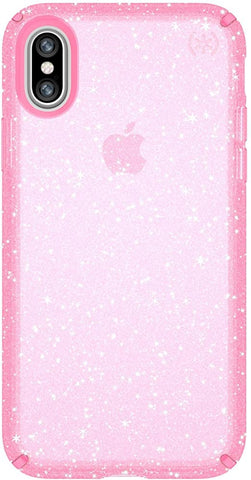 Speck iPhone XS Presidio Clear + Glitter Case, Scratch-Resistant IMPACTIUM 8-Foot Drop Protected iPhone Case that Resists UV Yellowing, Gold Glitter/Bella Pink