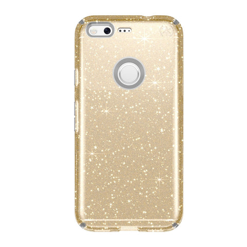 Speck Presidio Clear with Glitter Cell Phone Case for Google Pixel - Clear with Gold Glitter