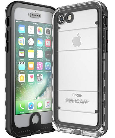 Pelican Marine Waterproof Built in Screen Protector iPhone 7/8 Case Black/Clear (Fits the new iPhone SE 2020)