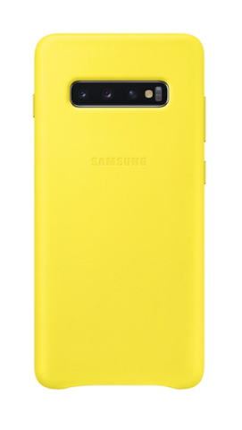Galaxy S10 Plus Leather Back Cover, Yellow