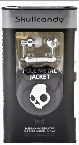 Skullcandy Full Metal Jacket Earbuds with Mic - Chrome