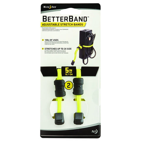 "Nite Ize Better Band 5"" Adjustable Stretch Bands, 2 Pack (Neon Yellow)"