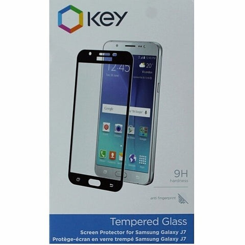 Key Tempered Glass Screen Protector for Samsung Galaxy J7 - Black on bezel