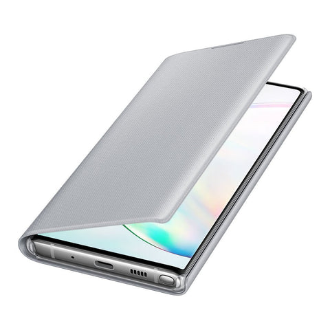 Samsung LED Wallet Cover For Galaxy Note 10 - Silver