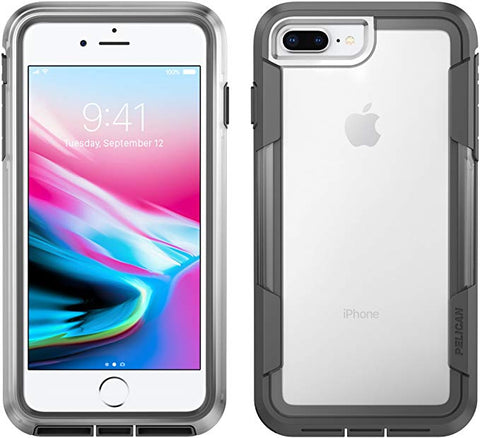 iPhone 8 Plus Case Pelican Voyager Case - fits iPhone 6s/7/8 Plus Clear/Grey