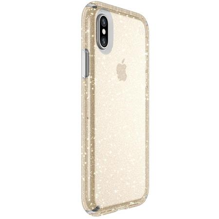 Speck Presidio Clear + Glitter Case for iPhone X - Clear with Gold Glitter/Clear