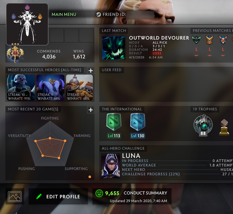 Legend III | MMR: 3320 - Behavior: 9655