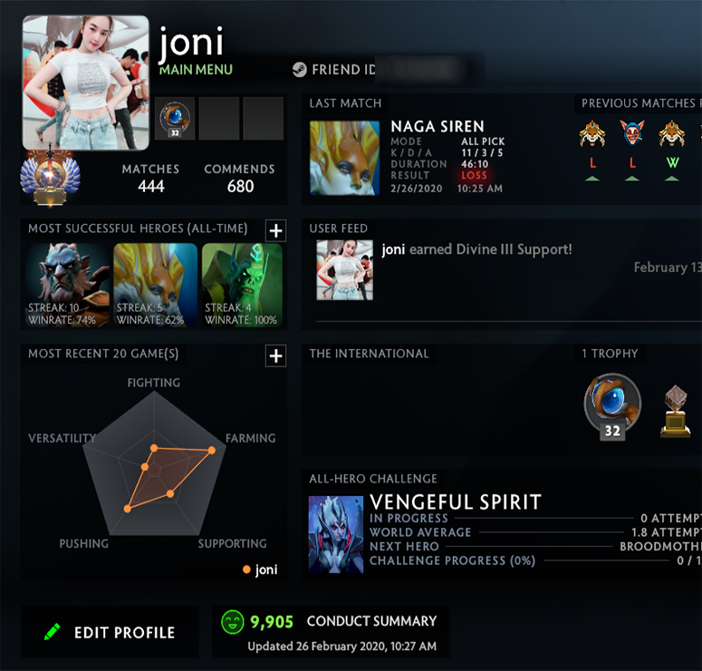 Immortal | MMR: 5660 - Behavior: 9905