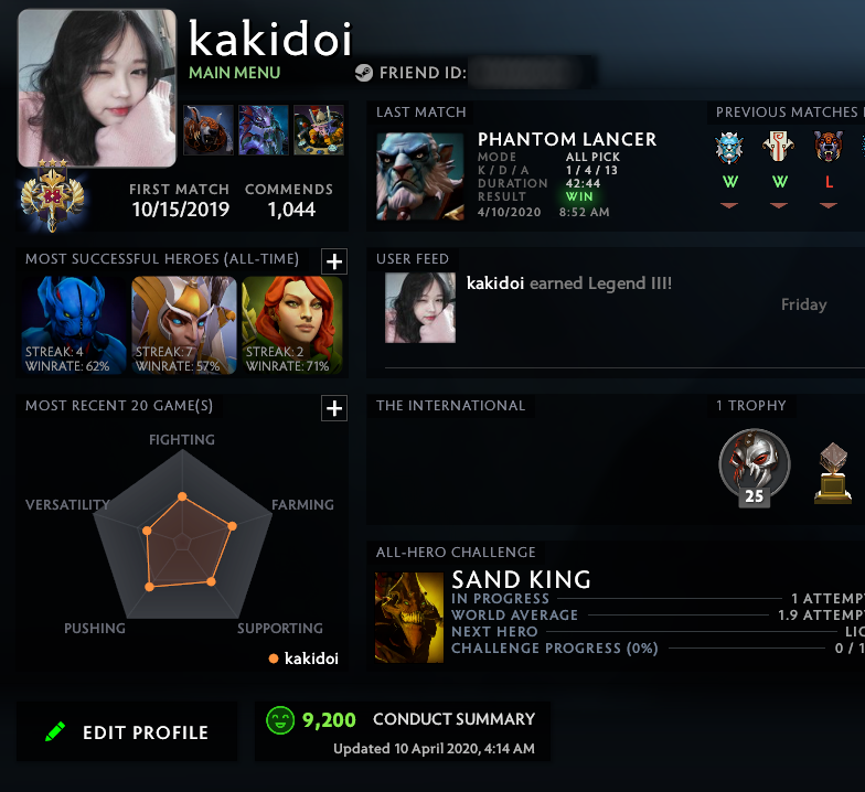 Legend III | MMR: 3390 - Behavior: 9200