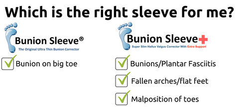 bunion sleeve versus bunion sleeve plus