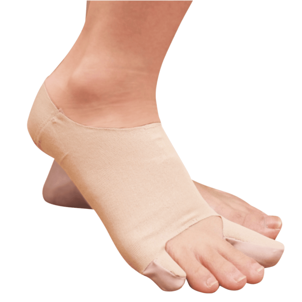 bunion sleeve plus being worn on right foot
