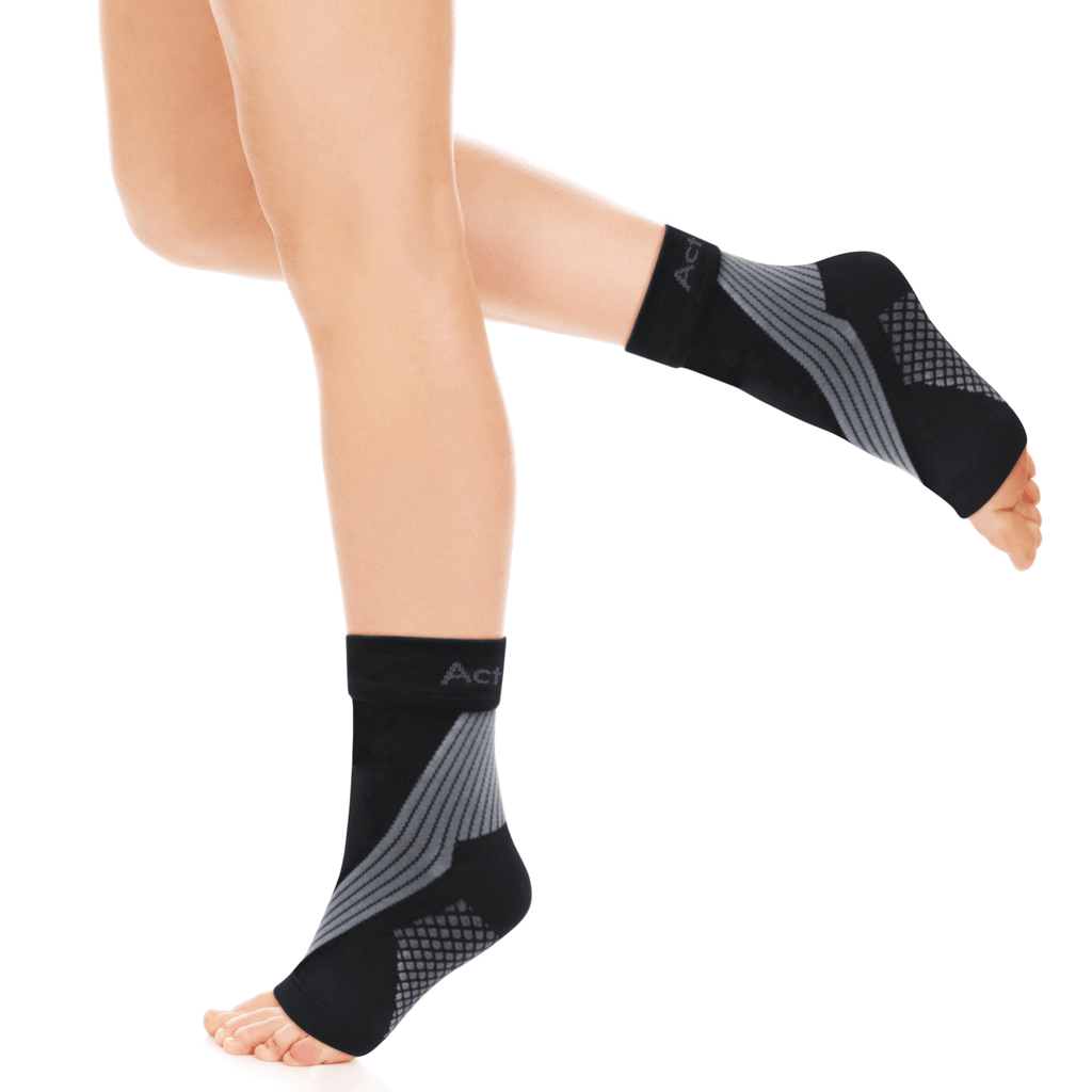 plantar fasciitis socks being worn