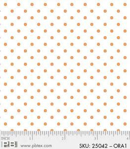 White With Orange Dots Fabric