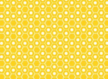 Hexagon And Honeycomb Yellow Fabric
