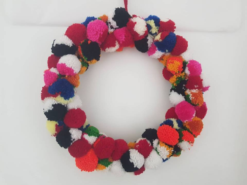 Multi Coloured Christmas Wreath