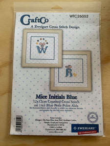 Mice Initials Blue Cross Stitch