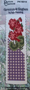 Geraniums & Gingham Cross Stitch Bookmark