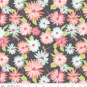 Paper Daisies Fabric - Grey