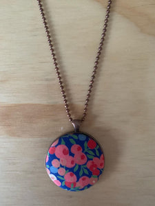 Blue/Pink Fabric Necklace