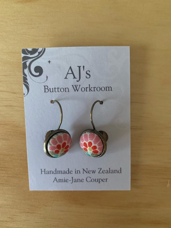French Hook Earrings Pink/Red Shapes