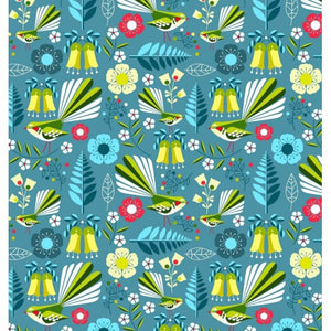 Early Birds Fabric - Fantail blue