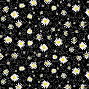 Daisies Black Fabric