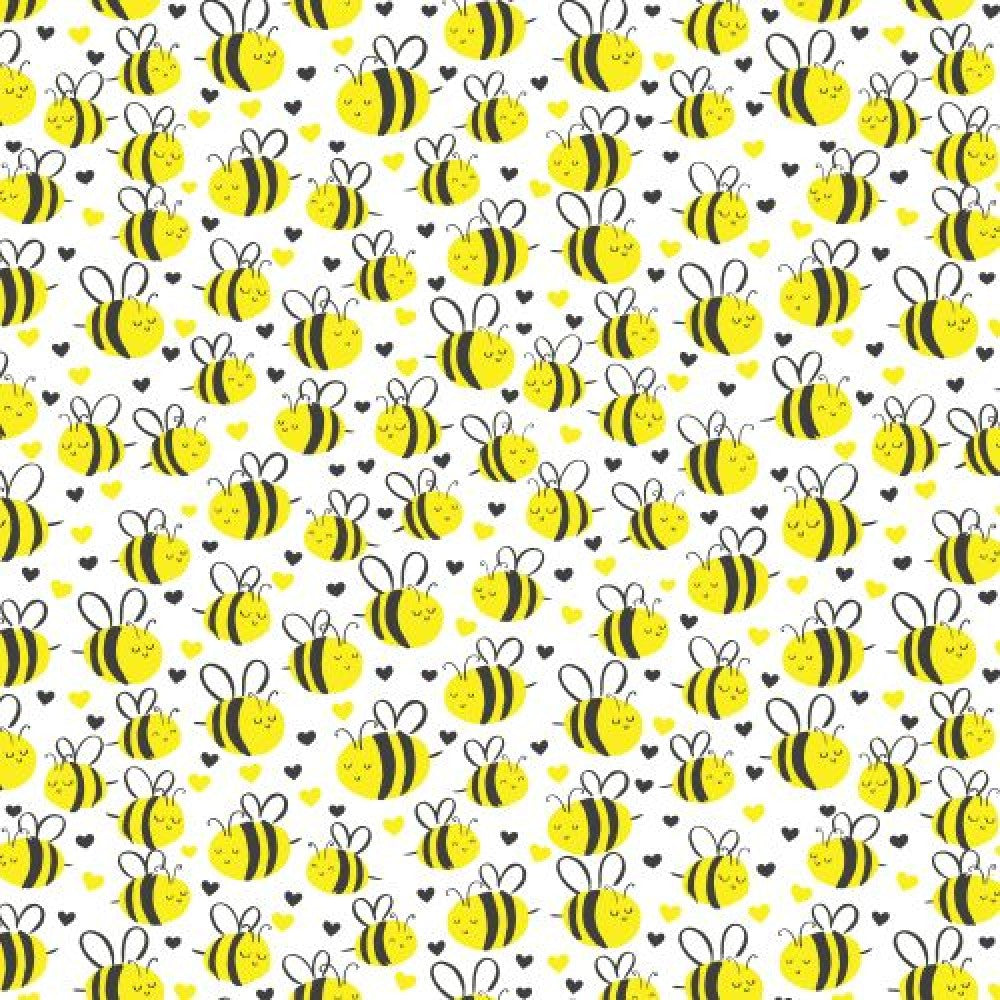 Bumble Bees White Fabric