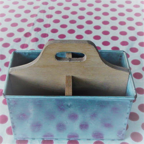 Rectangular Metal & Wood Caddy