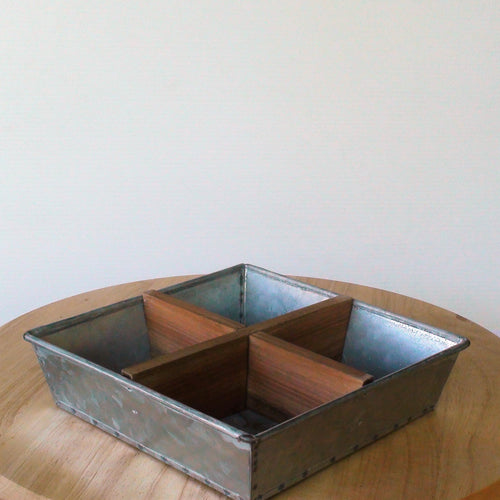 Small Square Metal & Wood Divider Tray