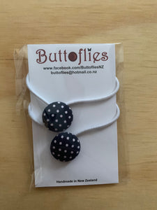 Button Hair Tie - Black/White Spot