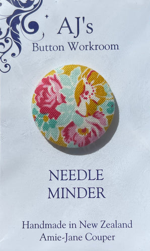 Needle Minder Mustard With Pink Roses