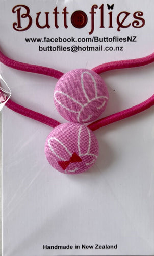 Button Hair Tie - Hot Pink Bunnies