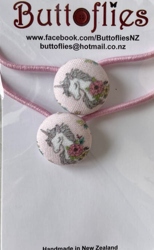 Button Hair Tie - Blush Unicorns